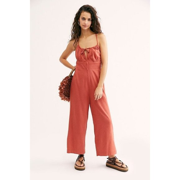 Free People Oh My Darlin Strap One Piece Earth Red